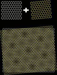 pattern created by sheet of graphene atop boron nitride sheet